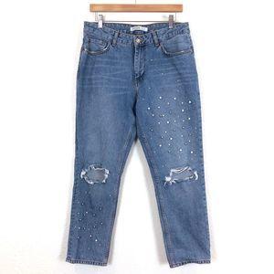 Zara Pearl Distressed Mom Blue Denim Jeans
